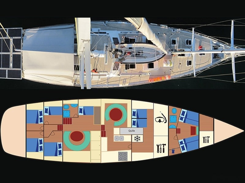 Plan aérien du voilier Antsiva